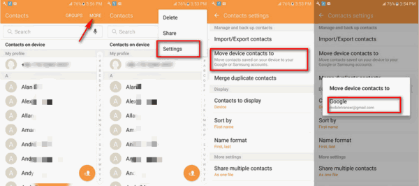 Copy contacts from Android to PC