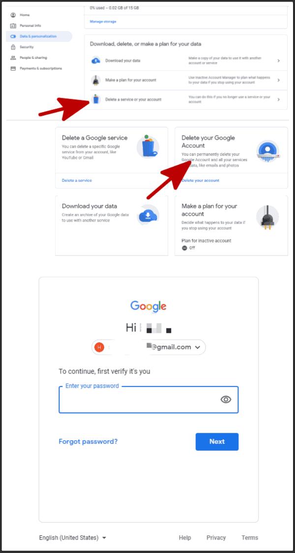 Deactivate Google account