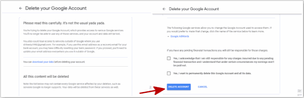 How to delete Google account from phone