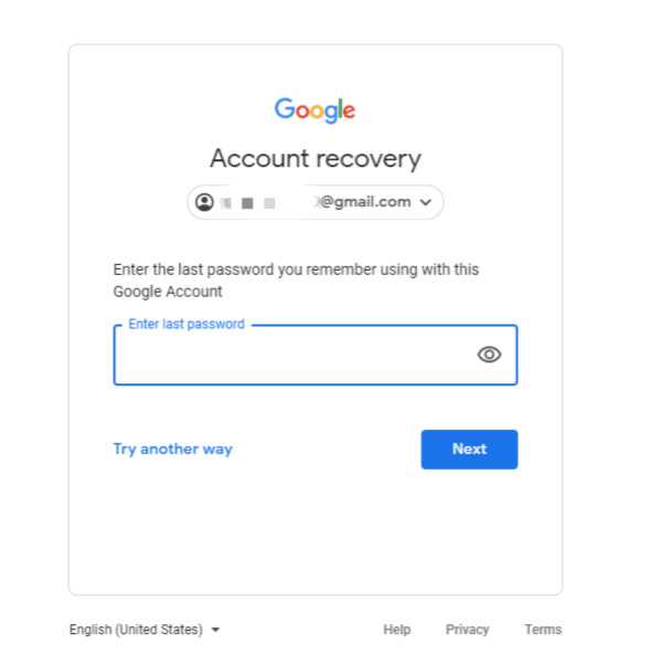 Google Account Forgot Password