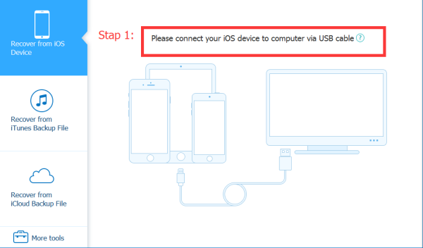 connect iOs device to computer via USB cable