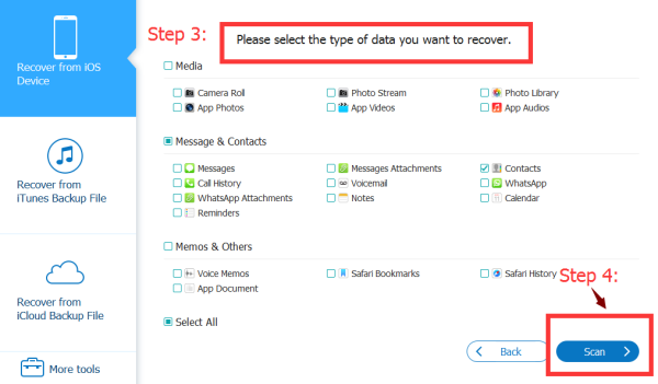 Select the type of data you want recover,and click