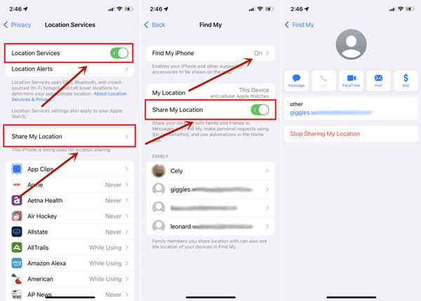 how to hide location on iphone