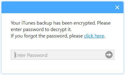 Enter iTunes encryption passcode