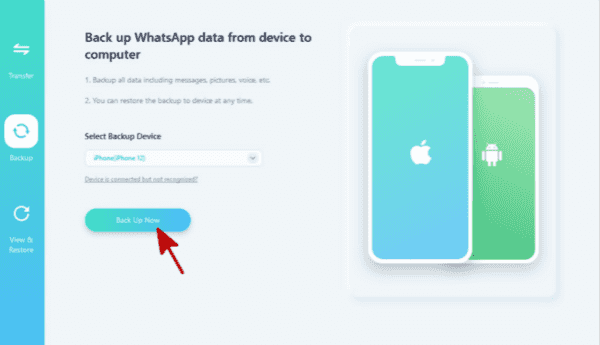 Backing up iPhone WhatsApp