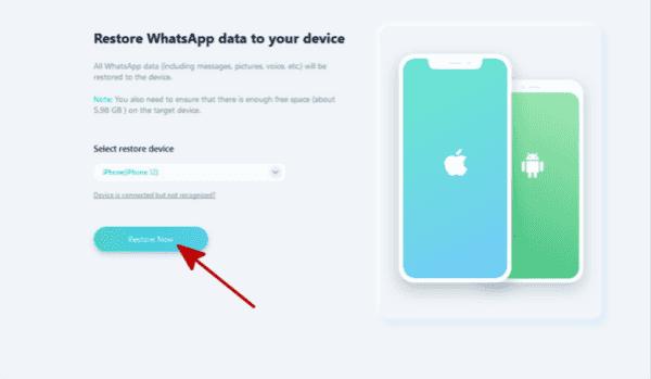 Select WhatsApp backup file